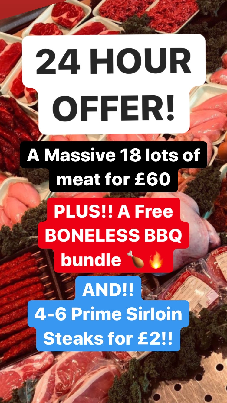 24 HOURS! FREE FAMILY BBQ + £2 Sirloin!!
